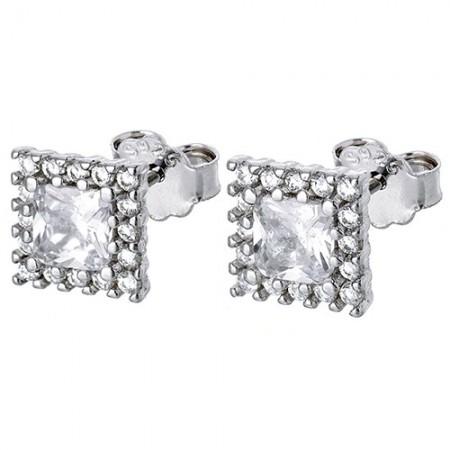 Piękne kwadratowe kolczyki na sztyft ze srebra 925 z cyrkoniami.
