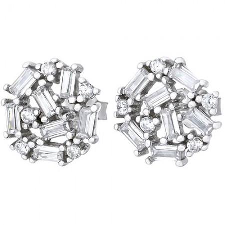 Piękne  okrągłe kolczyki na sztyft ze srebra 925 z cyrkoniami.