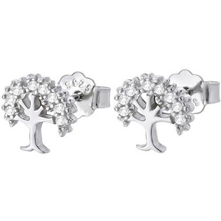 Piękne kolczyki drzewka na sztyft ze srebra 925 z cyrkoniami.