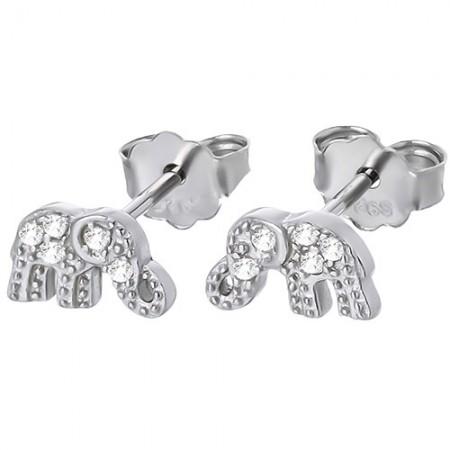 Piękne kolczyki słoniki na sztyft ze srebra 925 z cyrkoniami.