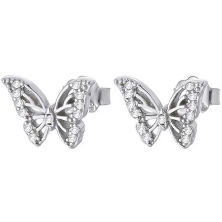 Piękne kolczyki na sztyft ze srebra 925 w kształcie motylka z cyrkoniami.