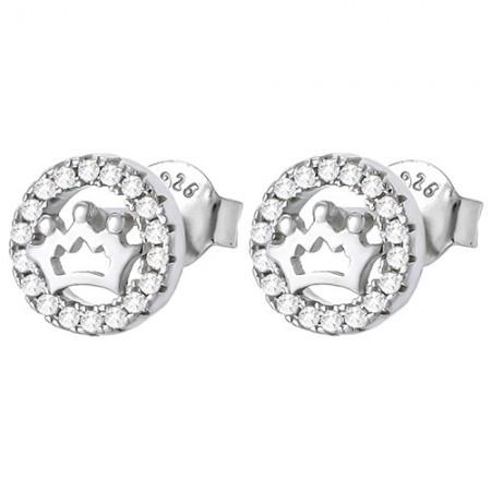 Piękne kolczyki z cyrkoniami na sztyft ze srebra 925 w kształcie koła a w środku korona.