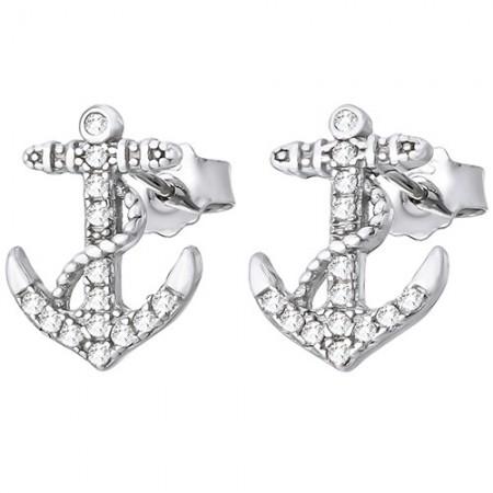 Piękne kolczyki na sztyft ze srebra 925 w kształcie kotwicy z cyrkoniami.