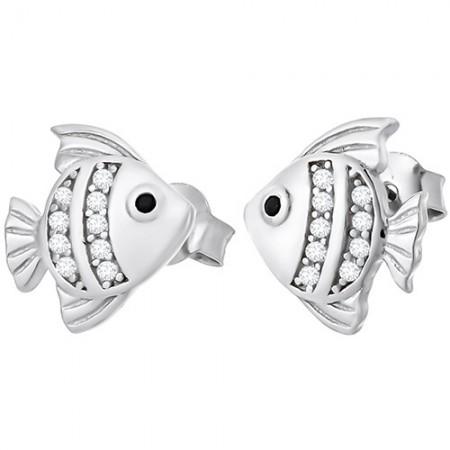 Piękne kolczyki na sztyft ze srebra próby 925 w kształcie ryby z cyrkoniami.