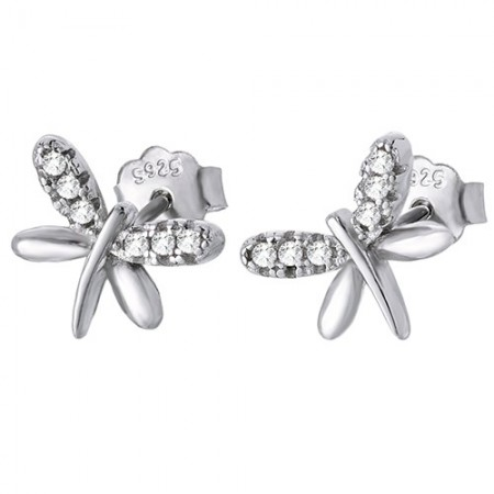 Piękne kolczyki na sztyft ze srebra próby 925 o kształcie wazki z cyrkoniami.