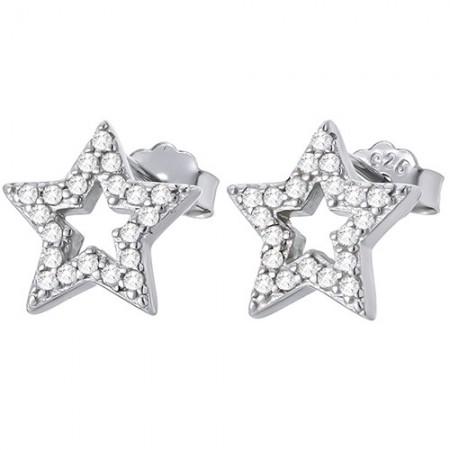 Piękne kolczyki gwiazdeczki  na sztyft ze srebra 925 z cyrkoniami.