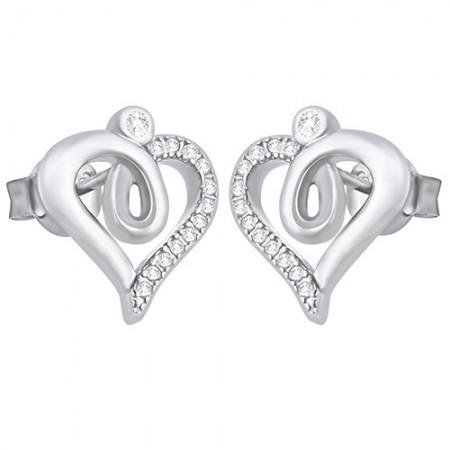Piękne kolczyki na sztyft ze srebra 925 o kształcie serduszka z cyrkoniami.