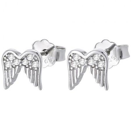 Piękne kolczyki na sztyft ze srebra próby 925 o kształcie skrzydełek z cyrkoniami.