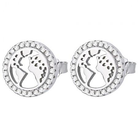 Piękne  okrągłe kolczyki na sztyft ze srebra 925 z cyrkoniami o kształcie mapy świata.