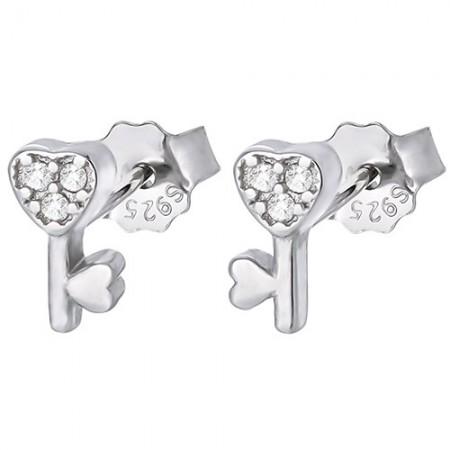 Piękne  kolczyki na sztyft ze srebra 925 z cyrkoniami o kształcie kluczyka.