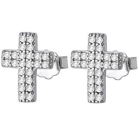 Piękne kolczyki ze srebra 925 o kształcie krzyża z podwójnym rzędem cyrkonii.