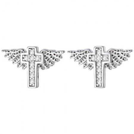 Piękne kolczyki ze srebra 925 z cyrkoniami o kształcie krzyża ze skrzydłami.