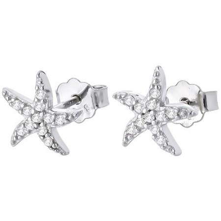 Piękne kolczyki ze srebra 925 z cyrkoniami o kształcie rozgwiazdy.
