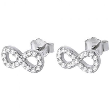 Piękne kolczyki ze srebra 925 z cyrkoniami o kształcie znaku nieskończoności.