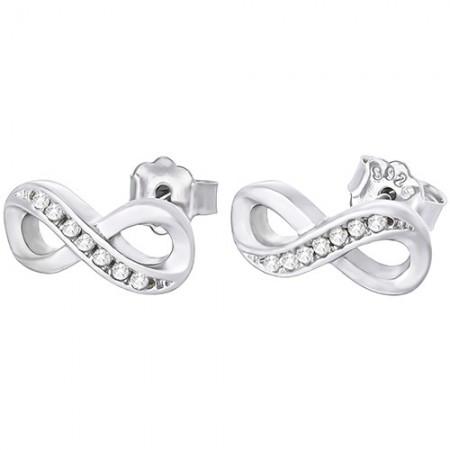 Piękne kolczyki ze srebra z cyrkoniami o kształcie znaku. nieskończoności