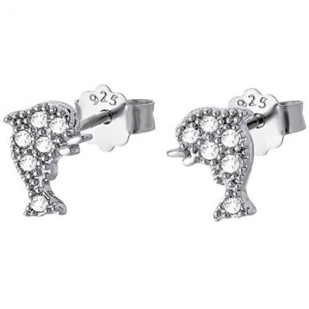 Piękne srebrne 925 kolczyki na sztyft z cyrkoniami o kształcie delfinka.