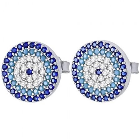 Piękne, okrągłe srebrne 925 kolczyki na sztyft z rzędami kolorowych cyrkonii.