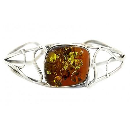 Unikatowa bransoletka ze srebra 925 z dużym naturalnym bursztynem w koniakowym kolorze.