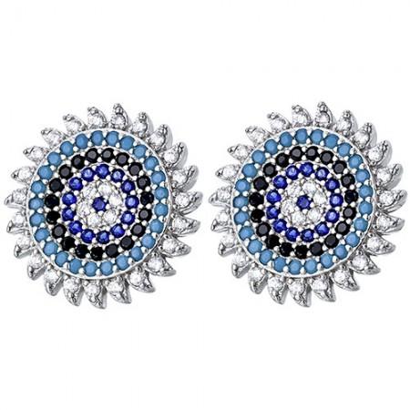 Piękne, okrągłe srebrne 925 kolczyki na sztyft z sześcioma  rzędami kolorowych cyrkonii.