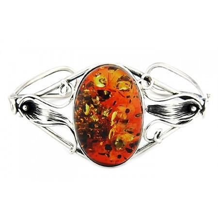 Unikatowa bransoletka ze srebra 925 zrobiona całkowicie ręcznie z dużym koniakowym bursztynem.