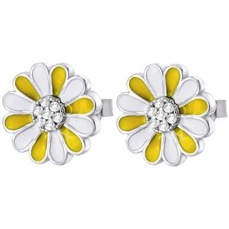 Piękne srebrne 925 kolczyki na sztyft z białą i żółtą emalią o kształcie kwiatka margaretki.