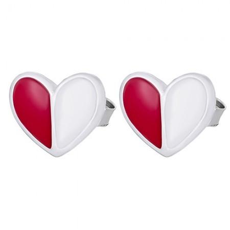 Piękne srebrne 925 kolczyki na sztyft z czerwoną i białą emalią o kształcie serduszka.