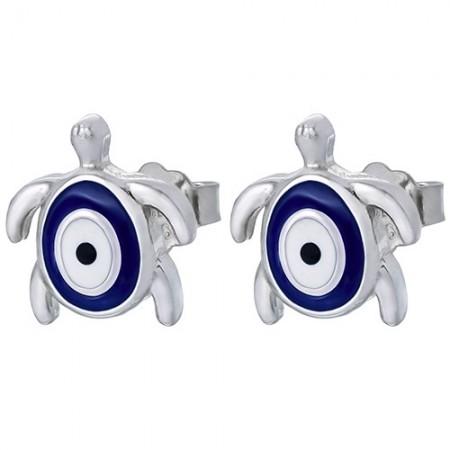 Piękne srebrne 925 kolczyki na sztyft z białą i niebieską emalią o kształcie żółwika.