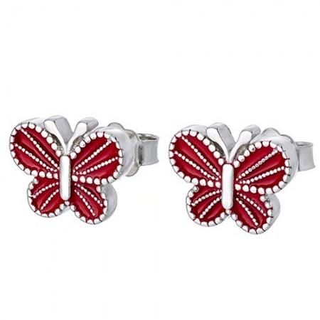 Piękne srebrne 925 kolczyki na sztyft z czerwoną emalią o kształcie motylków.