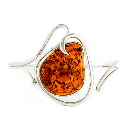 Piękna bransoletka ze srebra 925 wykonana całkowicie ręcznie z dużym bursztynem w koniakowym kolorze.