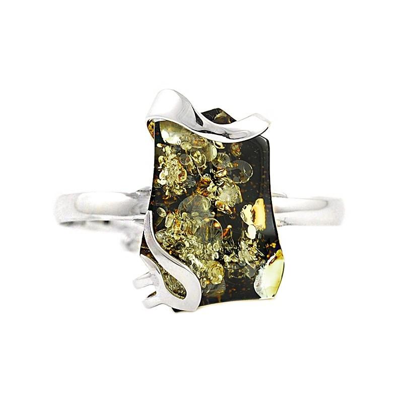 Bransoletka wykonana całkowicie ze srebra 925 z dużym bursztynem w zielonym kolorze.