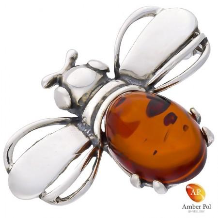 Broszka pszczółka ,srebrna 925 z bursztynem w kolorze koniaku.