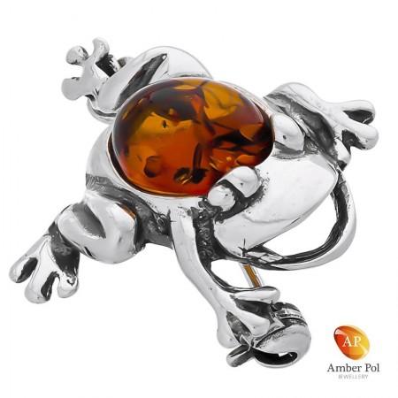 Broszka żabka ze srebra 925 z bursztynem w kolorze koniaku.