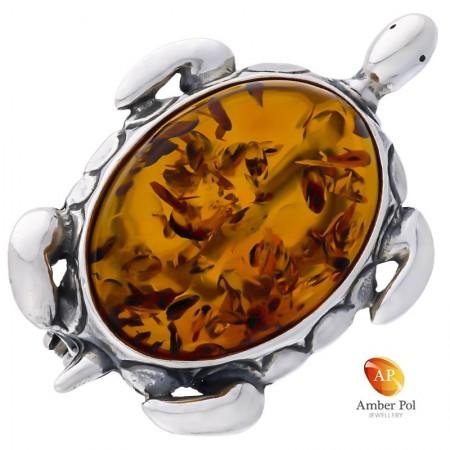 Broszka żółwik,  ze srebra 925 z dużym bursztynem w kolorze koniaku.