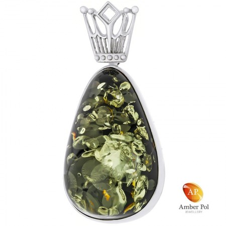 Wisior srebrny 925 z pięknym zielonym bursztynem oprawionym ręcznie w stylowej formie z zawieszka przypominająca koronę.