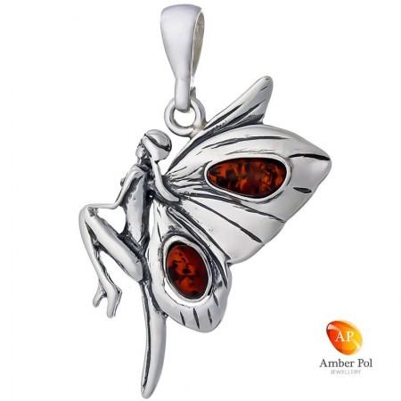 Wisior ze srebra 925 z bursztynem w kolorze koniaku o kształcie kobiecego elfa ze skrzydłami jak motyl.
