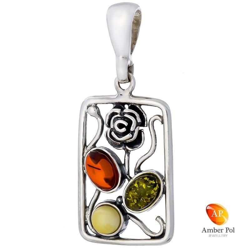 Wisior ze srebra 925 w kształcie ramki w której znajduje się róża, listki róży to bursztyny w kolorze mix.