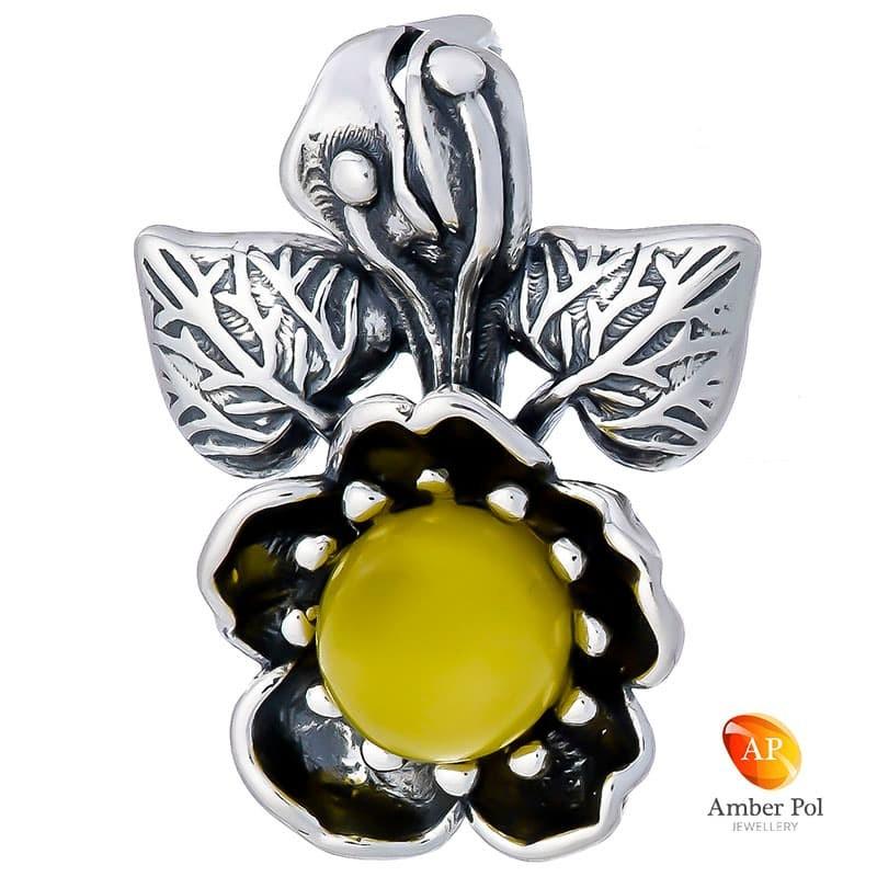 Wisiorek srebrny 925 o kształcie pięknego kwiatka z mlecznym bursztynem.