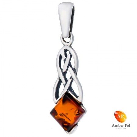 Sterling silver amber pendant