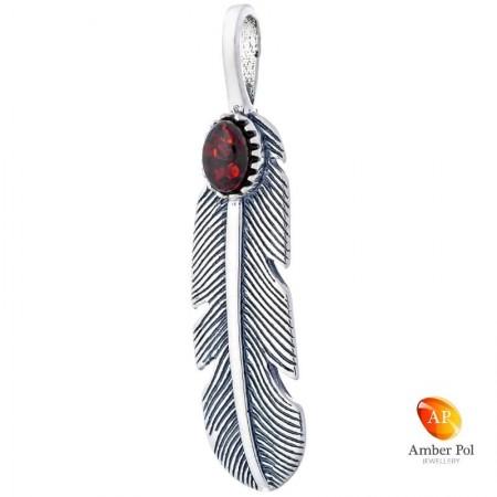 Piękny wisiorek w ze srebra 925 w kształcie piórka z bursztynem w kolorze koniakowym.