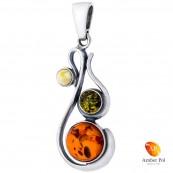 Piękny wisiorek ze srebra 925 w nieregularnym wydłużonym kształcie z trzema okrągłymi bursztynkami w kolorze mix.