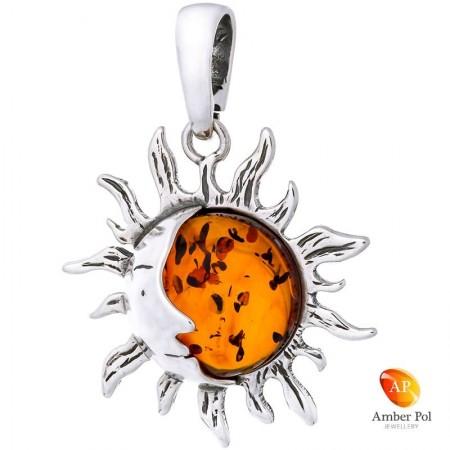 Piękny wisiorek słoneczko  ze srebra 925 z okrągłym koniakowym bursztynem.