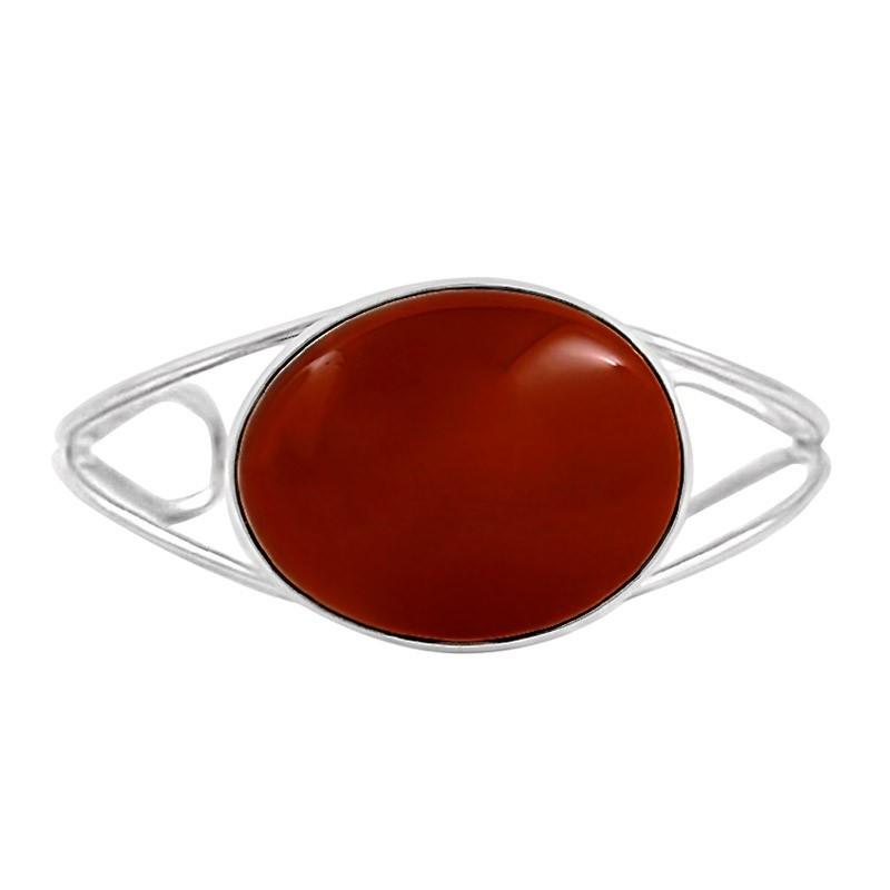 Śliczna bransoletka wykonana całkowicie ręcznie ze srebra próby 925 z dużym bursztynem w kolorze wiśniowym.