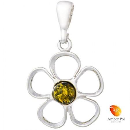 Piękny wisiorek ze srebra próby 925 przedstawiający kwiatka z pięcioma płatkami a środek jest z bursztynu w zielonym kolorze.
