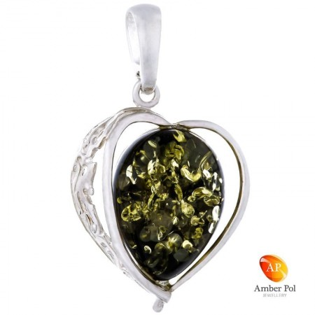 Piękny wisiorek srebrny 925 w kształcie serca z bocznym ażurowym zdobieniem i bursztynem w kolorze zieleni.