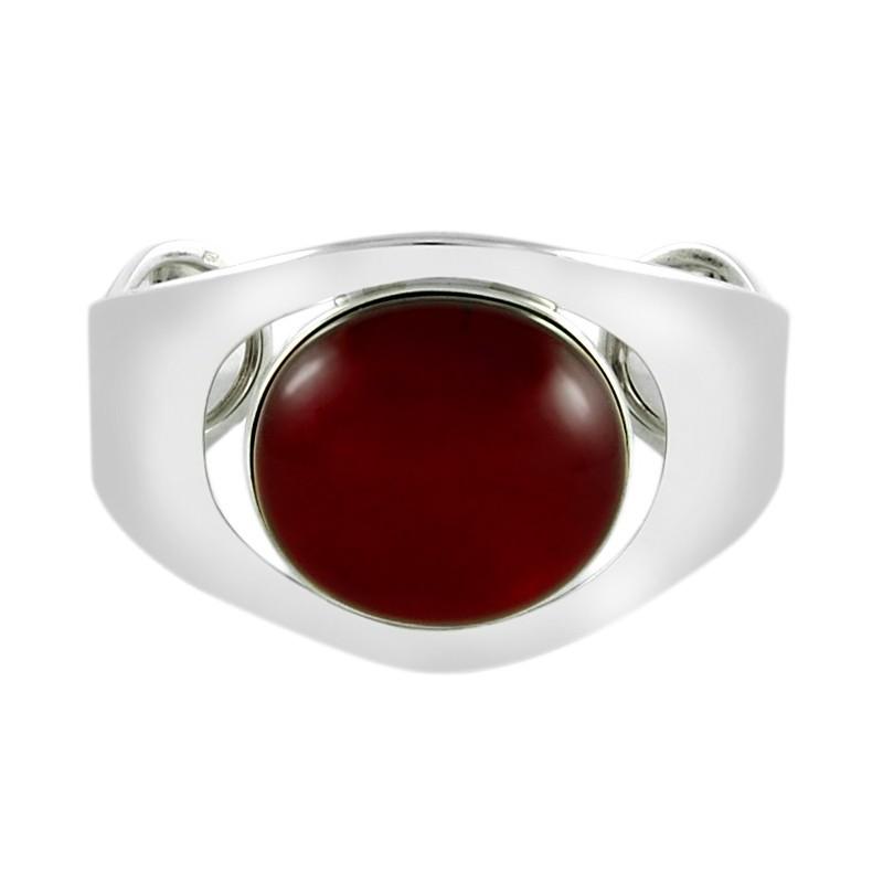 Piękna bransoletka wykonana ręcznie ze srebra 925 z dużym, naturalnym bursztynem w wiśniowym kolorze.