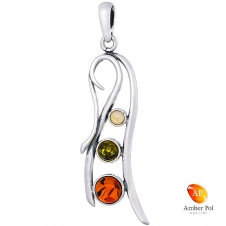 Piękny wisiorek ze srebra 925 o wydłużonym kształcie z bursztynami w kolorze koniakowym, zielonym i mlecznym.