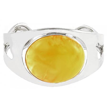 Unikatowa bransoletka ze srebra próby 925 wykonana całkowicie ręcznie z dużym mlecznym bursztynem.