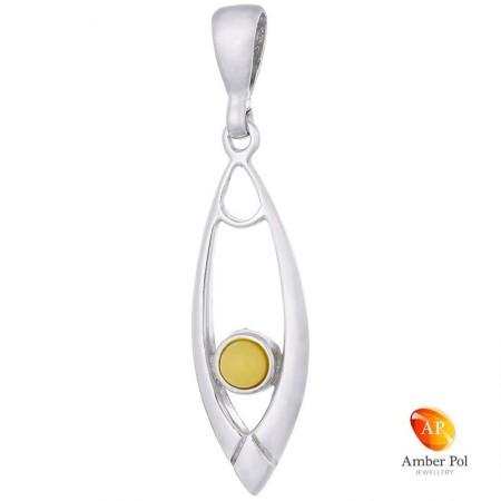 Piękny wisiorek ze srebra 925 o wydłużonym kształcie z białym bursztynem.