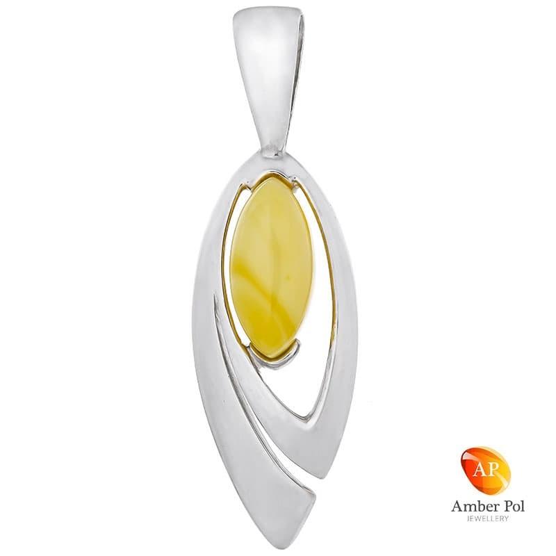 Piękny wisiorek ze srebra 925 o wydłużonym kształcie z bursztynem w białym kolorze.