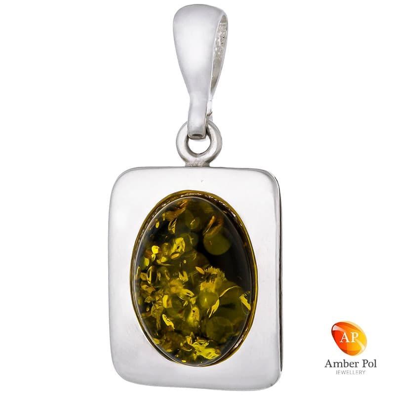 Piękny wisiorek ze srebra próby 925 w kształcie bardzo eleganckiej ramki z bursztynem w zielonym kolorze.
